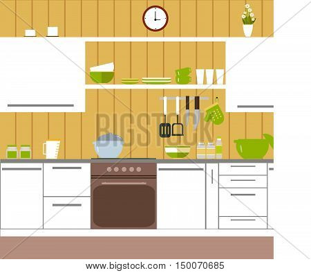 Kitchen with yellow walls and housewares and home accessories