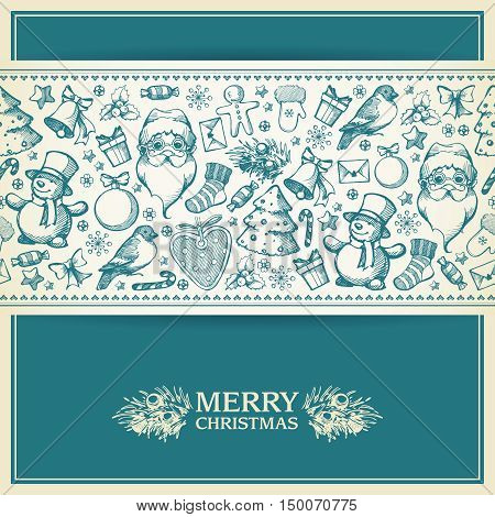 vintage christmas greeting card with hand draw elements template with seamless border sketch illustrations