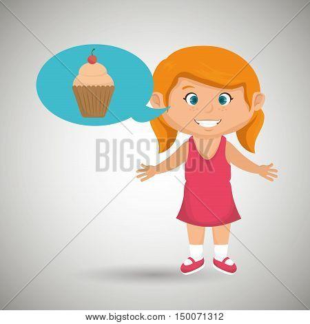 girl cartoon cup cake vector illustration eps 10