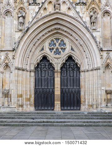 Main door of York Minster York UK