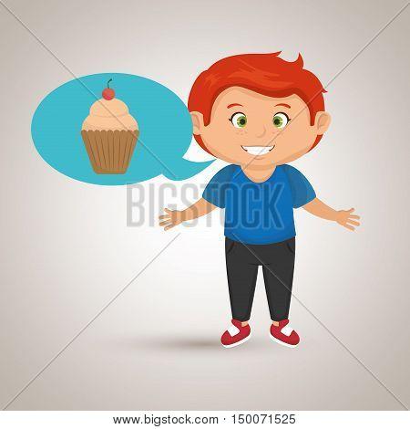 boy cartoon cup cake vector illustration eps 10