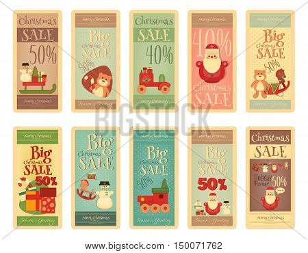 Christmas Sale Tags in Retro Style. Big Set of Merry Christmas Sell-out on White Background. Vector Illustration.