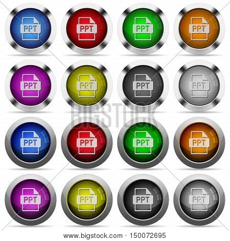 Set of PPT file format glossy web buttons. Arranged layer structure.