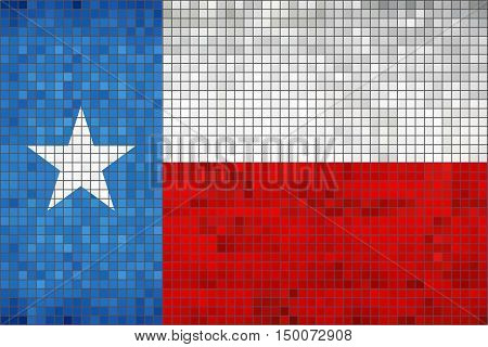 Abstract Mosaic flag of Texas - illustration,  The flag of the state of Texas,  Texas grunge mosaic flag