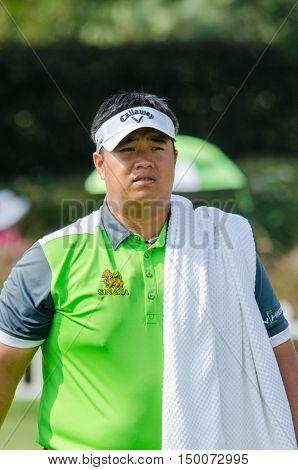 CHONBURI - DECEMBER 13 : Kiradech Aphibarnrat of Thailand player in Thailand Golf Championship 2015 at Amata Spring Country Club on December 13 2015 in Chonburi Thailand.