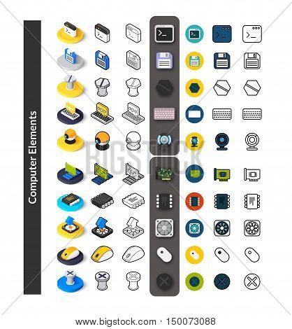 Set of icons in different style - isometric flat and otline, colored and black versions, vector symbols - Computer collection