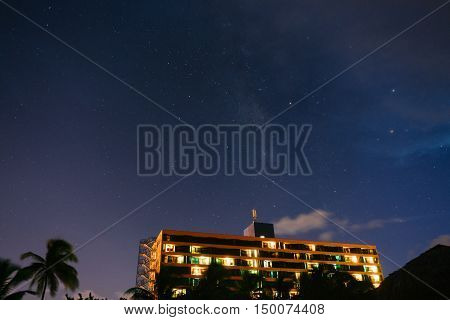 Starry sky above the hotel in Varadero, Cuba