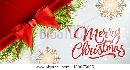 Merry Christmas lettering. Merry Christmas inscription with fir sprigs, bow, snowflakes. Handwritten text with decorative elements can be used for postcards, festive design, banners