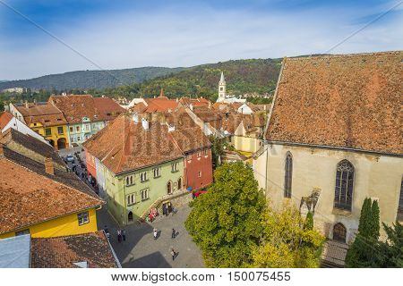 Cityscape of Sighisoara citadel in fall season the most beautiful and medieval town of Transylvania in Romania
