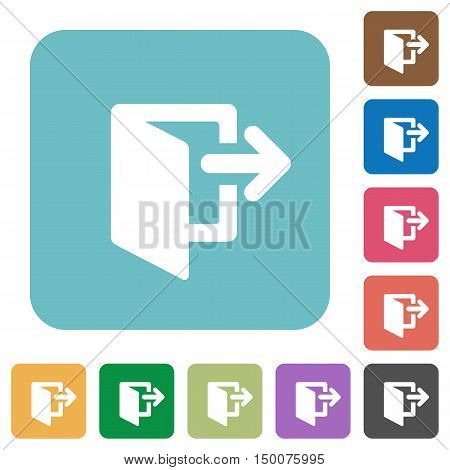 Flat exit icons on rounded square color backgrounds.