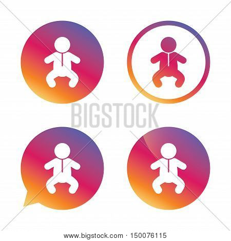 Baby infant sign icon. Toddler boy in pajamas or crawlers body symbol. Child WC toilet. Gradient buttons with flat icon. Speech bubble sign. Vector