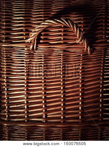 background or texture detail of the wicker basket with handle