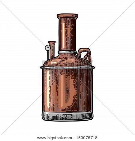 Brewery factory beer. Isolated on white background. Vintage color vector engraving illustration for web poster label invitation to oktoberfest festival and party.