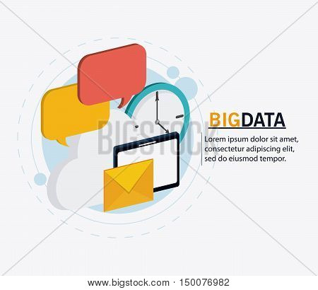Tablet envelope cloud bubble and clock icon. Big data center base and web hosting theme. Colorful design. Vector illustration