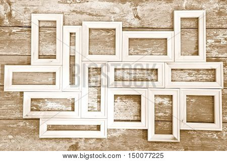 Composition of the small plain wooden frames - toned image