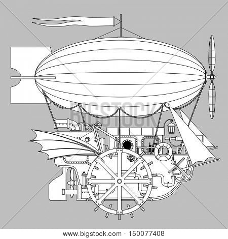 Contour Steampunk complex fantastic flying ship. Retro technology concept. Vector illustration pattern for coloring book