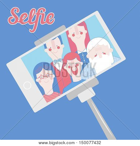 Taking selfie photo on smart phone. Vector flat illustration. The whole family makes a photo on the smartphone-selfimage. using selfie stick
