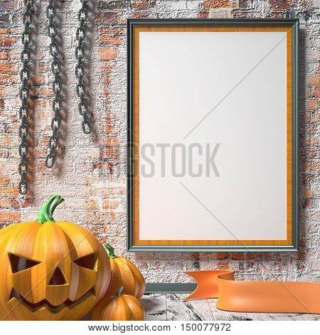 Jack O Lantern pumpkin chains and mock up blank poster on white wall. 3D render illustration background