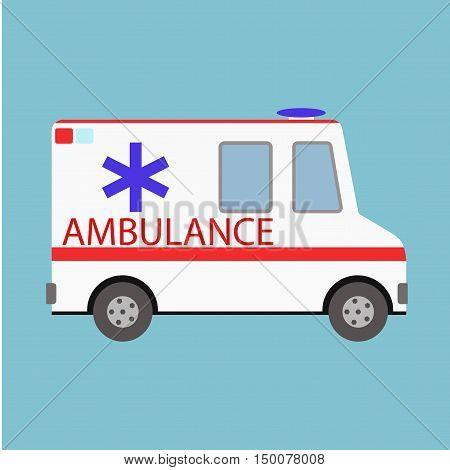 Vector illustration ambulance car on blue background. Ambulance auto paramedic emergency. Medical evacuation. Cartoon silhouette on blue