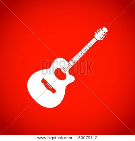 Acoustic guitar sign icon. Music symbol icon stock vector illustration flat design