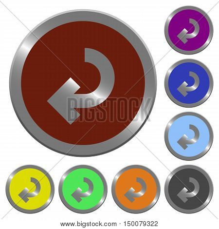 Set of color glossy coin-like return arrow buttons poster