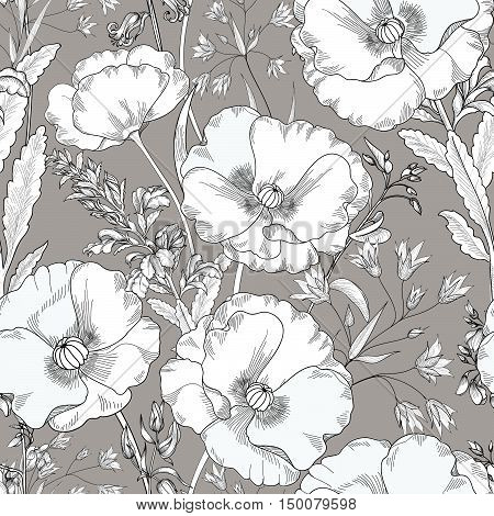 Floral seamless pattern. Flower background. Floral seamless texture with flowers. Flourish tiled pattern