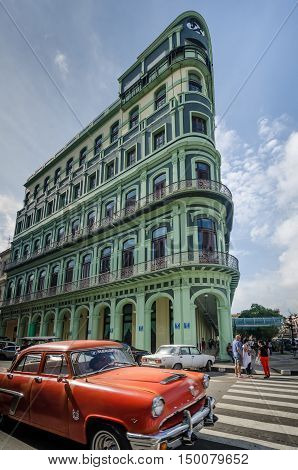 HAVANA - CUBA JUNE 10, 2016: The restored luxury Saratoga Hotel, built in 1879, is an excellent example of colonial architecture in the La Habana Vieja neighborhood across from the Capitolio.