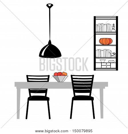 Kitchen furniture set: table chairs lamp and cupboard Dining Room Interior Vector Illustration
