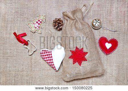 Vintage Christmas decoration on a burlap background