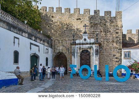 Obidos Portugal. 30 September 2016. Obidos during the international literary festivalObidos is an ancient medieval Portuguese village from the 11th century still inside castle walls. Obidos Portugal. photography by Ricardo Rocha.