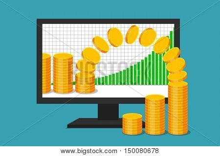 PC monitor with graph of income growth. Gold coins are moving from virtual environment to reality. Virtual earnings and real money. Successful business in web sector