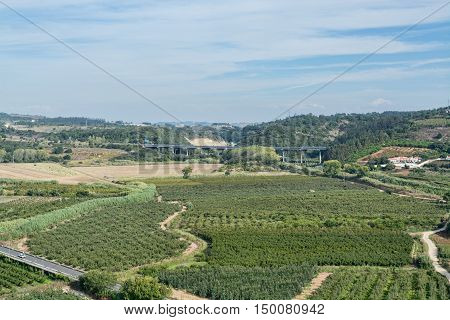 Obidos Portugal. 30 September 2016. view of Obidos green fields around city walls Obidos is an ancient medieval Portuguese village from the 11th century still inside castle walls. Obidos Portugal. photography by Ricardo Rocha.