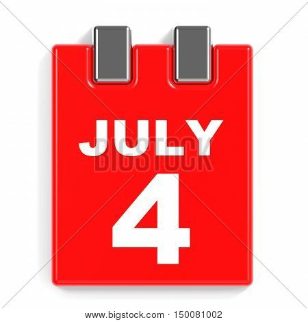 July 4. Calendar On White Background.