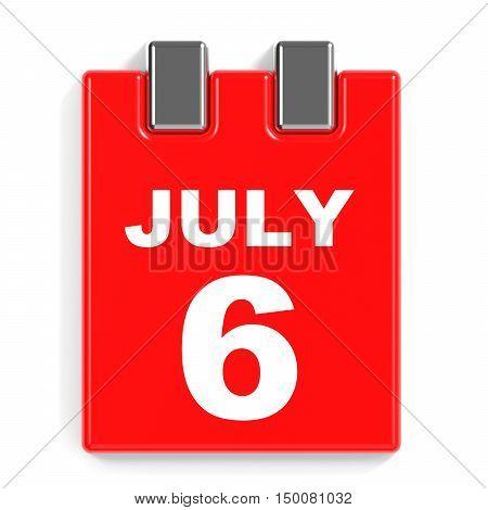 July 6. Calendar On White Background.