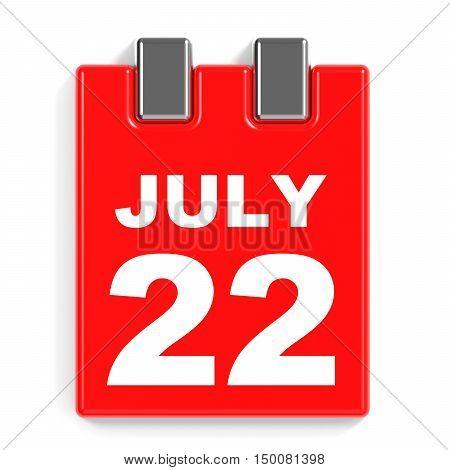 July 22. Calendar On White Background.