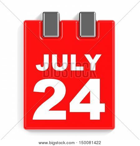 July 24. Calendar On White Background.