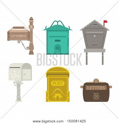 Beautiful rural curbside open and closed mailboxes with semaphore flag vector illustration.