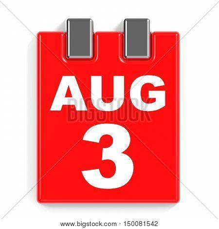 August 3. Calendar On White Background.