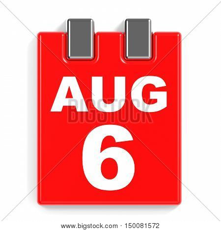 August 6. Calendar On White Background.