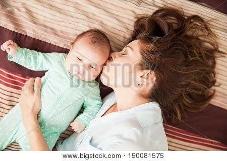 Mother In Love Of Her Newborn Baby
