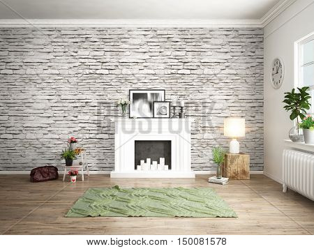 Bright interior with fireplace in a modern style . 3D rendering