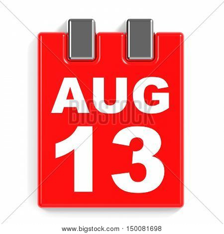 August 13. Calendar On White Background.