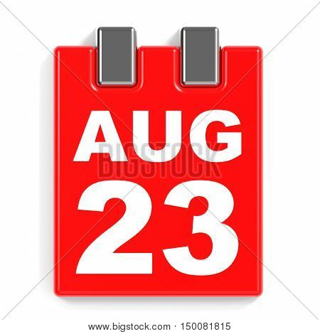 August 23. Calendar On White Background.