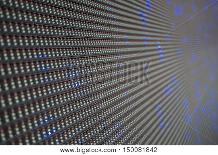 Led screen panel with three diodes closeup pattern