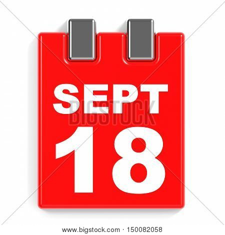 September 18. Calendar On White Background.