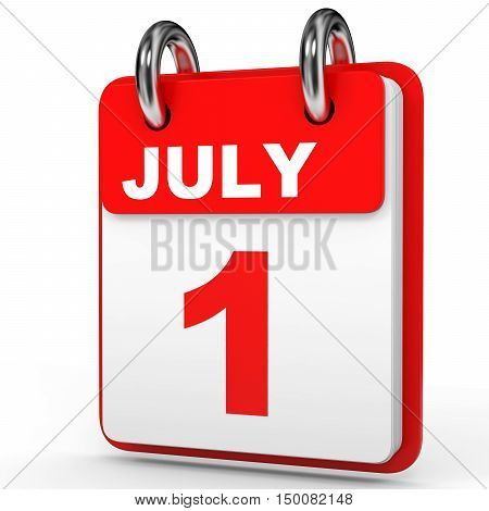 July 1. Calendar On White Background.