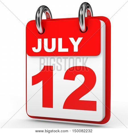 July 12. Calendar On White Background.