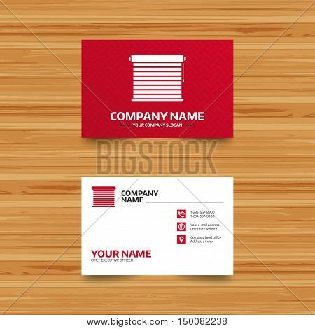 Business card template. Louvers sign icon. Window blinds or jalousie symbol. Phone, globe and pointer icons. Visiting card design. Vector