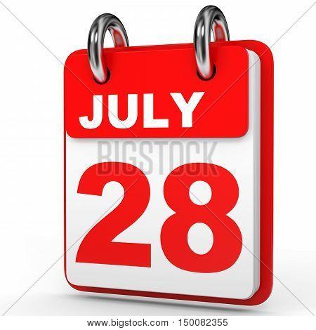 July 28. Calendar On White Background.