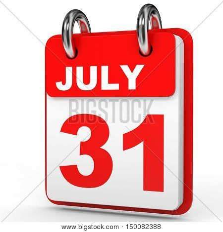 July 31. Calendar On White Background.